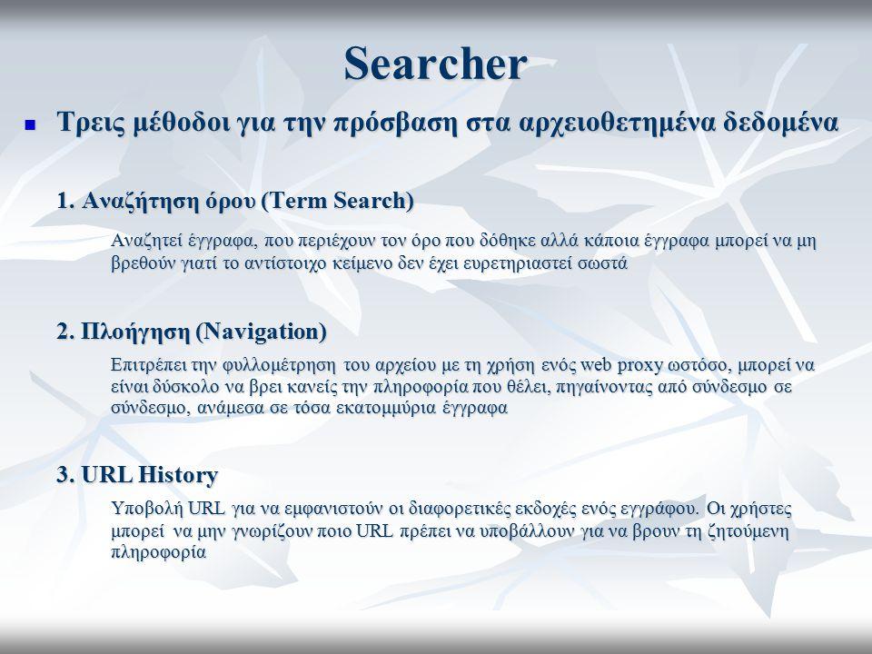Searcher Τρεις μέθοδοι για την πρόσβαση στα αρχειοθετημένα δεδομένα Τρεις μέθοδοι για την πρόσβαση στα αρχειοθετημένα δεδομένα 1. Αναζήτηση όρου (Term