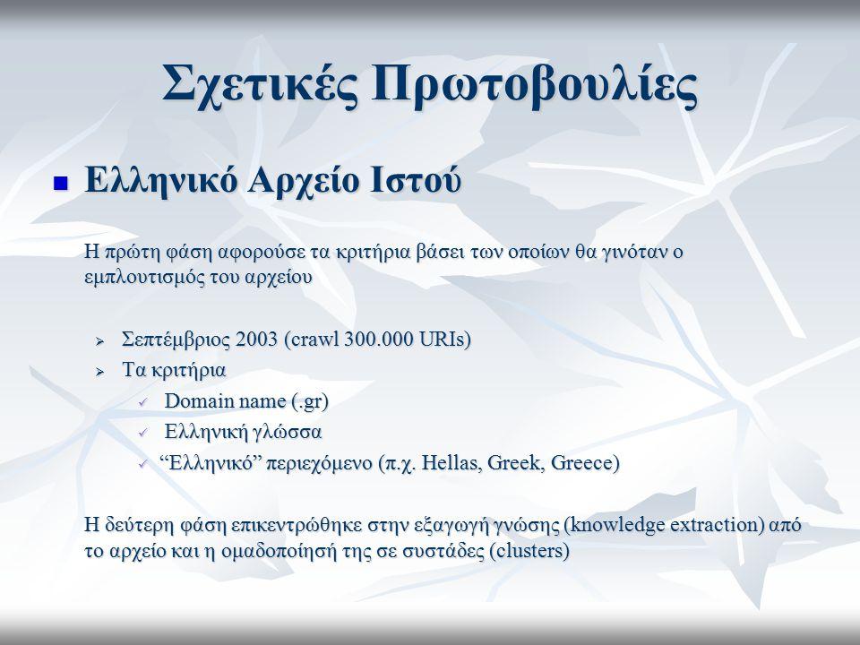 Σχετικές Πρωτοβουλίες Ελληνικό Αρχείο Ιστού Ελληνικό Αρχείο Ιστού H πρώτη φάση αφορούσε τα κριτήρια βάσει των οποίων θα γινόταν ο εμπλουτισμός του αρχ