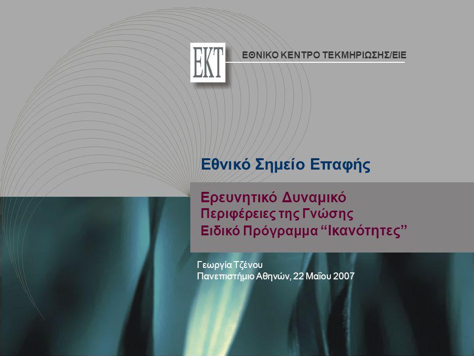 Ερευνητικό Δυναμικό Περιφέρειες της Γνώσης Ειδικό Πρόγραμμα Ικανότητες Γεωργία Τζένου Πανεπιστήμιο Αθηνών, 22 Μαΐου 2007 Εθνικό Σημείο Επαφής ΕΘΝΙΚΟ ΚΕΝΤΡΟ ΤΕΚΜΗΡΙΩΣΗΣ/EIE