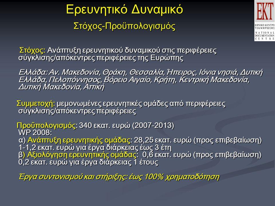 Ερευνητικό Δυναμικό Στόχος-Προϋπολογισμός Στόχος: Ανάπτυξη ερευνητικού δυναμικού στις περιφέρειες σύγκλισης/απόκεντρες περιφέρειες της Ευρώπης Ελλάδα: