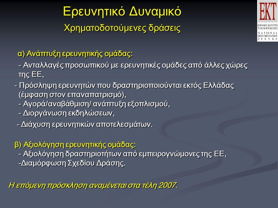Ερευνητικό Δυναμικό Χρηματοδοτούμενες δράσεις α) Ανάπτυξη ερευνητικής ομάδας: - Ανταλλαγές προσωπικού με ερευνητικές ομάδες από άλλες χώρες της ΕΕ, α) Ανάπτυξη ερευνητικής ομάδας: - Ανταλλαγές προσωπικού με ερευνητικές ομάδες από άλλες χώρες της ΕΕ, - Πρόσληψη ερευνητών που δραστηριοποιούνται εκτός Ελλάδας (έμφαση στον επαναπατρισμό), - Αγορά/αναβάθμιση/ ανάπτυξη εξοπλισμού, - Διοργάνωση εκδηλώσεων, - Πρόσληψη ερευνητών που δραστηριοποιούνται εκτός Ελλάδας (έμφαση στον επαναπατρισμό), - Αγορά/αναβάθμιση/ ανάπτυξη εξοπλισμού, - Διοργάνωση εκδηλώσεων, - Διάχυση ερευνητικών αποτελεσμάτων.