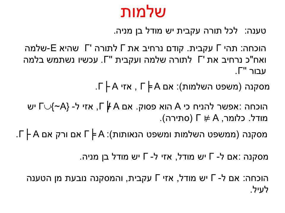 טענה:לכל תורה עקבית יש מודל בן מניה. שלמות הוכחה:תהי Γעקבית.