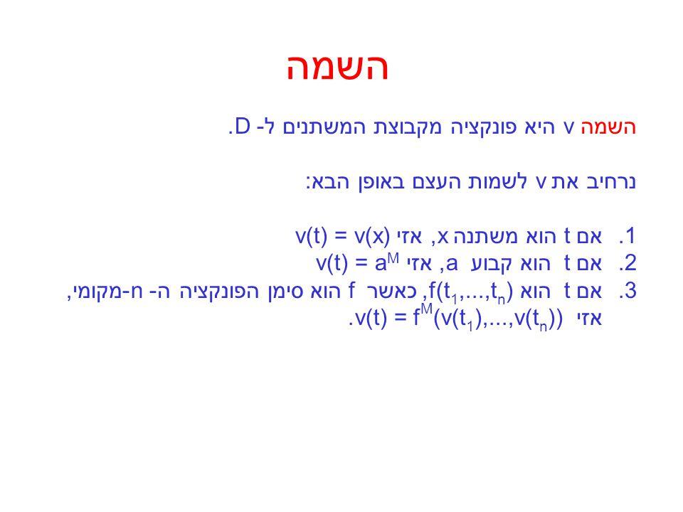 השמה השמה v היא פונקציה מקבוצת המשתנים ל- D.