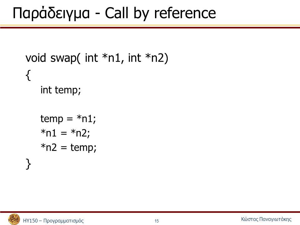 ΗΥ150 – Προγραμματισμός Κώστας Παναγιωτάκης 15 Παράδειγμα - Call by reference void swap( int *n1, int *n2) { int temp; temp = *n1; *n1 = *n2; *n2 = temp; }