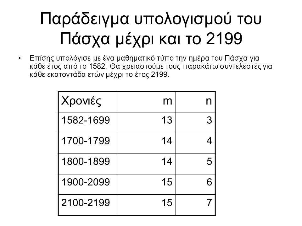 Παράδειγμα υπολογισμού του Πάσχα μέχρι και το 2199 Επίσης υπολόγισε με ένα μαθηματικό τύπο την ημέρα του Πάσχα για κάθε έτος από το 1582. Θα χρειαστού