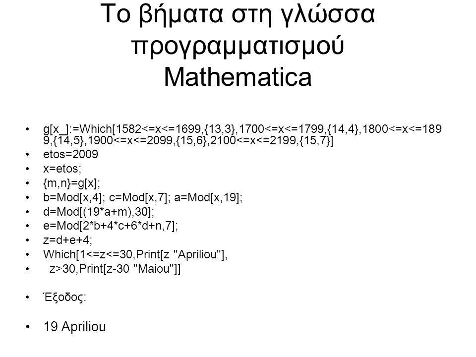 Το βήματα στη γλώσσα προγραμματισμού Mathematica g[x_]:=Which[1582<=x<=1699,{13,3},1700<=x<=1799,{14,4},1800<=x<=189 9,{14,5},1900<=x<=2099,{15,6},2100<=x<=2199,{15,7}] etos=2009 x=etos; {m,n}=g[x]; b=Mod[x,4]; c=Mod[x,7]; a=Mod[x,19]; d=Mod[(19*a+m),30]; e=Mod[2*b+4*c+6*d+n,7]; z=d+e+4; Which[1<=z<=30,Print[z Apriliou ], z>30,Print[z-30 Maiou ]] Έξοδος: 19 Apriliou