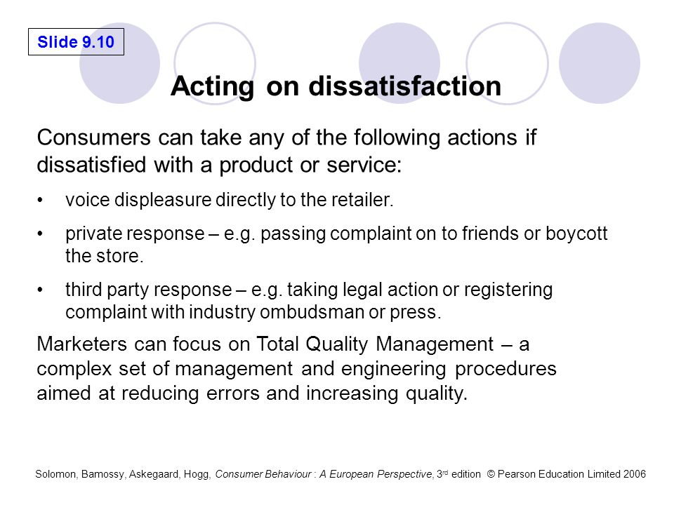 Slide 9.10 Solomon, Bamossy, Askegaard, Hogg, Consumer Behaviour : A European Perspective, 3 rd edition © Pearson Education Limited 2006 Acting on dis