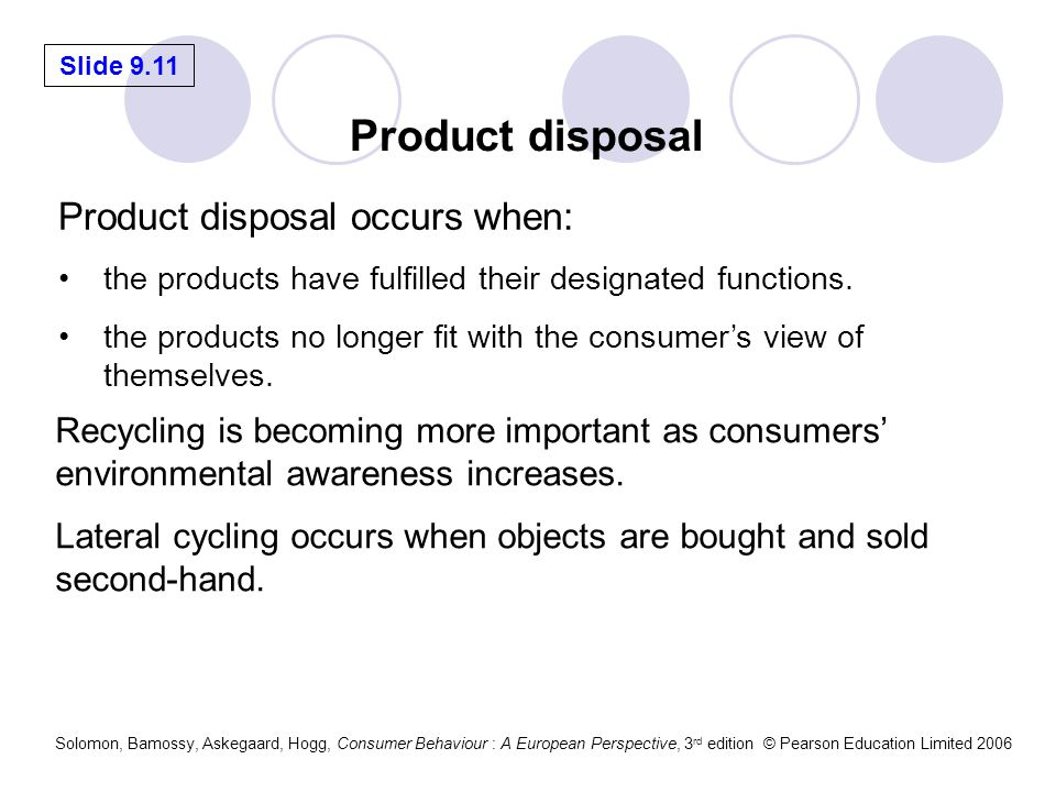 Slide 9.11 Solomon, Bamossy, Askegaard, Hogg, Consumer Behaviour : A European Perspective, 3 rd edition © Pearson Education Limited 2006 Product disposal occurs when: the products have fulfilled their designated functions.