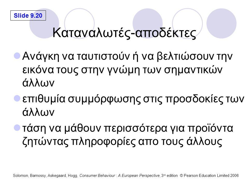 Slide 9.20 Solomon, Bamossy, Askegaard, Hogg, Consumer Behaviour : A European Perspective, 3 rd edition © Pearson Education Limited 2006 Καταναλωτές-αποδέκτες Ανάγκη να ταυτιστούν ή να βελτιώσουν την εικόνα τους στην γνώμη των σημαντικών άλλων επιθυμία συμμόρφωσης στις προσδοκίες των άλλων τάση να μάθουν περισσότερα για προϊόντα ζητώντας πληροφορίες απο τους άλλους