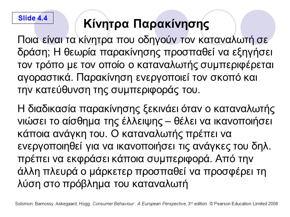 Slide 4.4 Solomon, Bamossy, Askegaard, Hogg, Consumer Behaviour : A European Perspective, 3 rd edition © Pearson Education Limited 2006 Ποια είναι τα