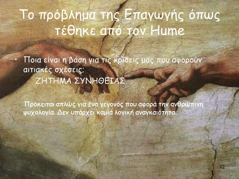 12 Το πρόβλημα της Επαγωγής όπως τέθηκε από τον Hume Ποια είναι η βάση για τις κρίσεις μας που αφορούν αιτιακές σχέσεις; ΖΗΤΗΜΑ ΣΥΝΗΘΕΙΑΣ Πρόκειται απλώς για ένα γεγονός που αφορά την ανθρώπινη ψυχολογία.