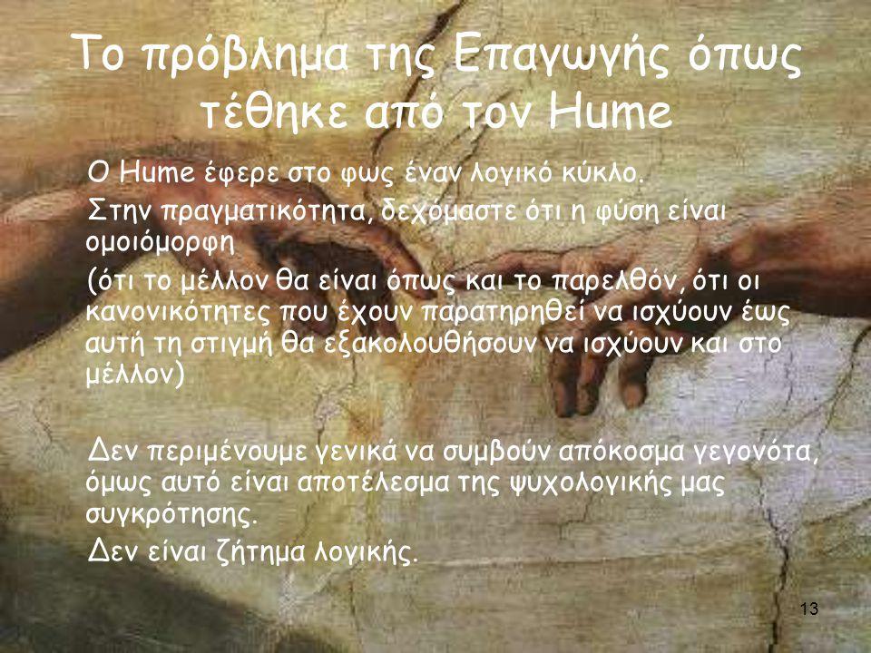13 Το πρόβλημα της Επαγωγής όπως τέθηκε από τον Hume Ο Hume έφερε στο φως έναν λογικό κύκλο.