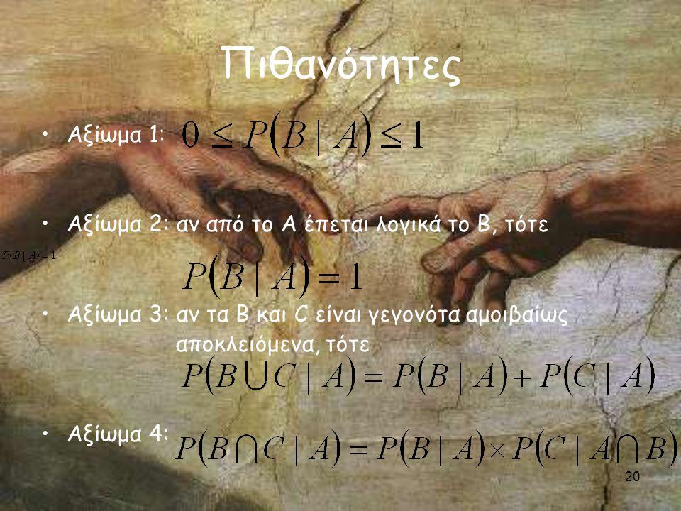 20 Πιθανότητες Αξίωμα 1: Αξίωμα 2: αν από το Α έπεται λογικά το Β, τότε Αξίωμα 3: αν τα Β και C είναι γεγονότα αμοιβαίως αποκλειόμενα, τότε Αξίωμα 4: