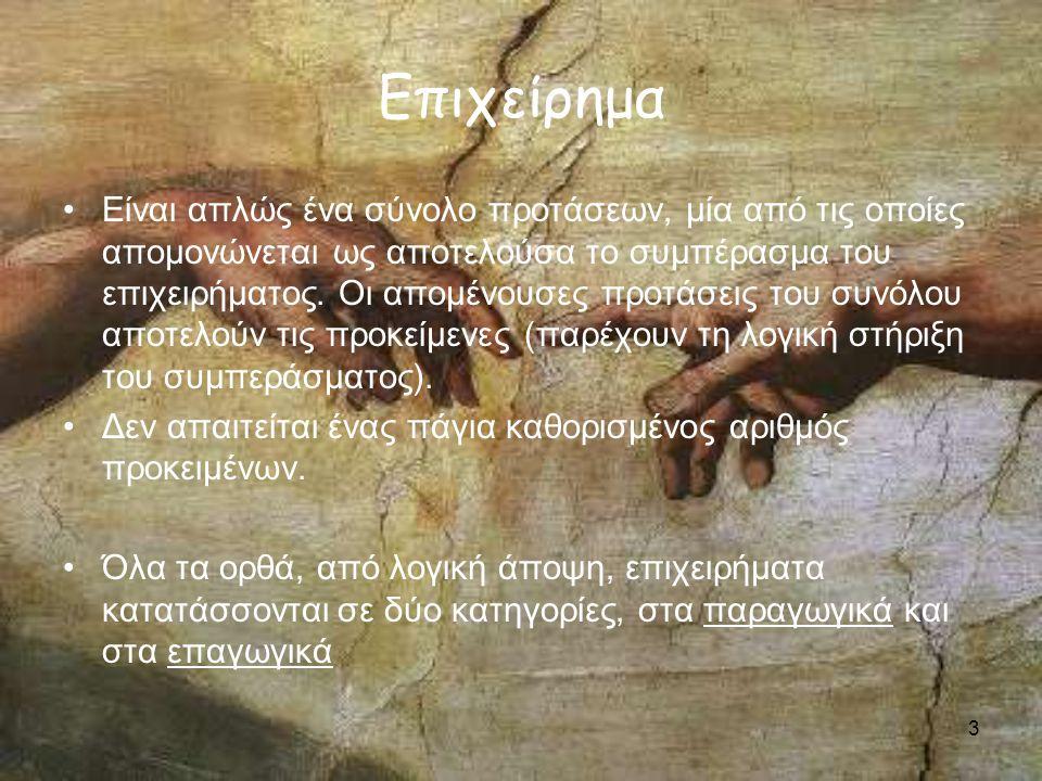 4 Παραγωγή και Επαγωγή - ΠΑΡΑΔΕΙΓΜΑ Όλοι οι άνθρωποι είναι θνητοί Ο Σωκράτης είναι άνθρωπος -------------------------------- Ο Σωκράτης είναι θνητός - ΤΥΠΟΣ Α->Β Α ----- Β - ΠΑΡΑΔΕΙΓΜΑ Τα κοράκια που παρατηρήθηκαν ήταν μαύρα ------------------------------ Όλα τα κοράκια είναι μαύρα - ΤΥΠΟΣ Α->Β Β ----- Α