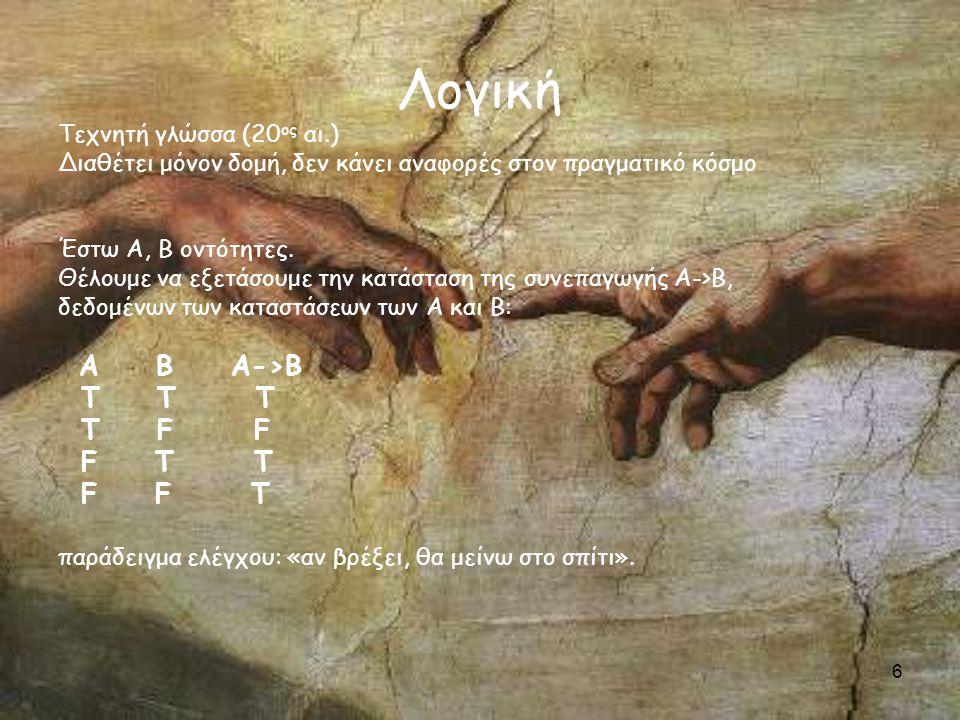 6 Λογική Τεχνητή γλώσσα (20 ος αι.) Διαθέτει μόνον δομή, δεν κάνει αναφορές στον πραγματικό κόσμο Έστω Α, Β οντότητες.