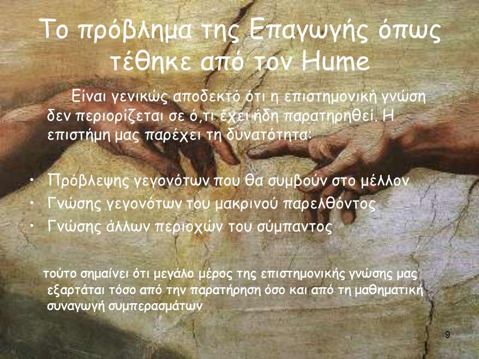 10 Το πρόβλημα της Επαγωγής όπως τέθηκε από τον Hume Ποιο είναι το θεμέλιο για τη συναγωγή συμπερασμάτων από το παρατηρηθέν στο απαρατήρητο; Οι συλλογισμοί αυτού του τύπου στηρίζονται σε σχέσεις αιτίου-αποτελέσματος Διαθέτουμε άραγε a priori γνώση αιτιακών σχέσεων; Μπορούμε άραγε να συναγάγουμε τη φύση της αιτίας από την παρατήρηση του αποτελέσματος; Όλη η γνώση αιτιακών σχέσεων που διαθέτουμε πρέπει να στηρίζεται στην εμπειρία.