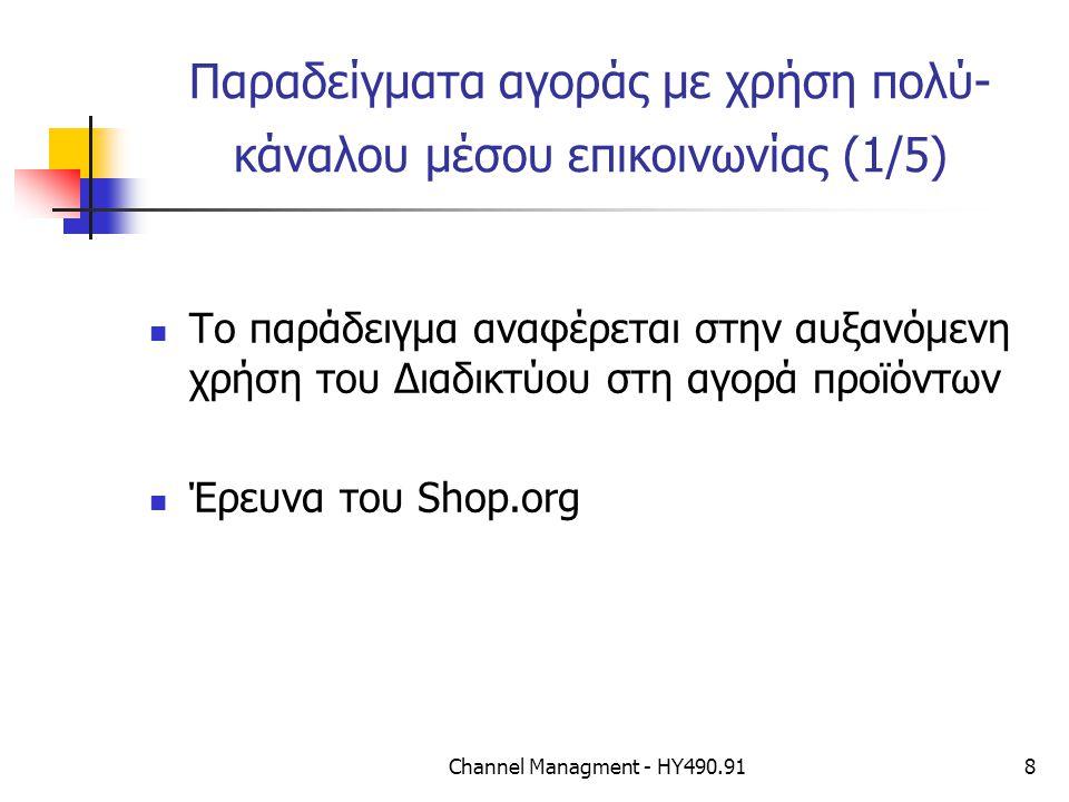 Channel Managment - ΗΥ490.918 Παραδείγματα αγοράς με χρήση πολύ- κάναλου μέσου επικοινωνίας (1/5) Το παράδειγμα αναφέρεται στην αυξανόμενη χρήση του Διαδικτύου στη αγορά προϊόντων Έρευνα του Shop.org