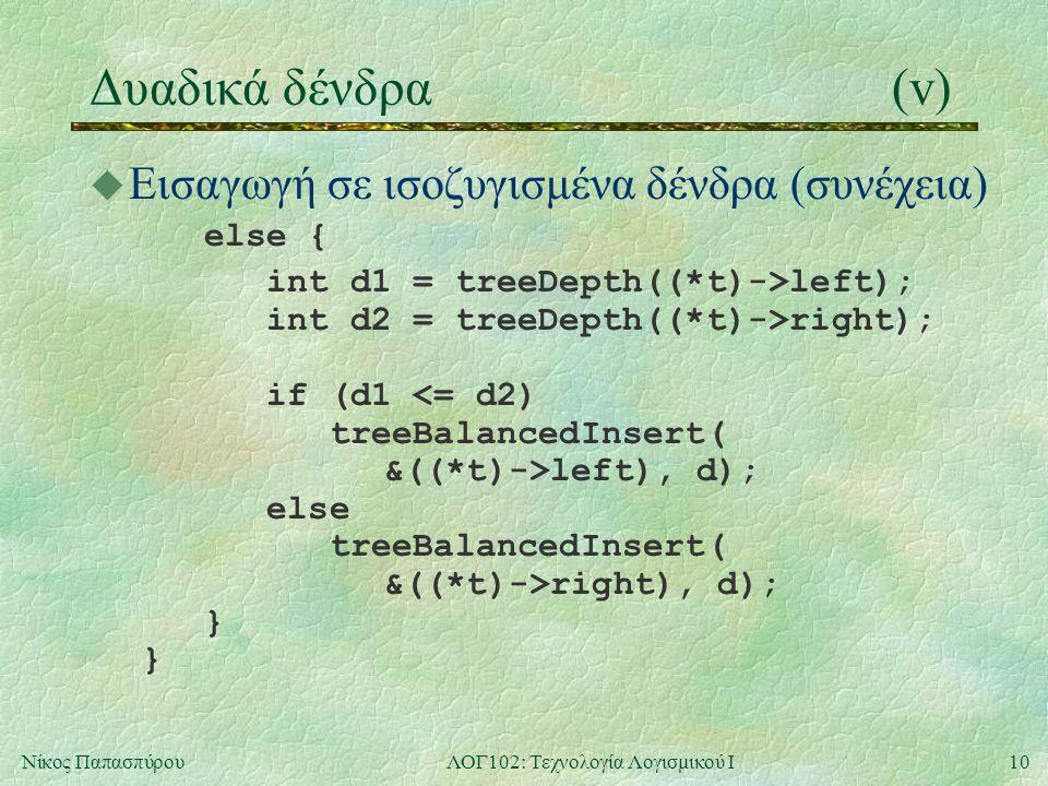 10Νίκος ΠαπασπύρουΛΟΓ102: Τεχνολογία Λογισμικού Ι Δυαδικά δένδρα(v) u Εισαγωγή σε ισοζυγισμένα δένδρα (συνέχεια) else { int d1 = treeDepth((*t)->left); int d2 = treeDepth((*t)->right); if (d1 <= d2) treeBalancedInsert( &((*t)->left), d); else treeBalancedInsert( &((*t)->right), d); } }
