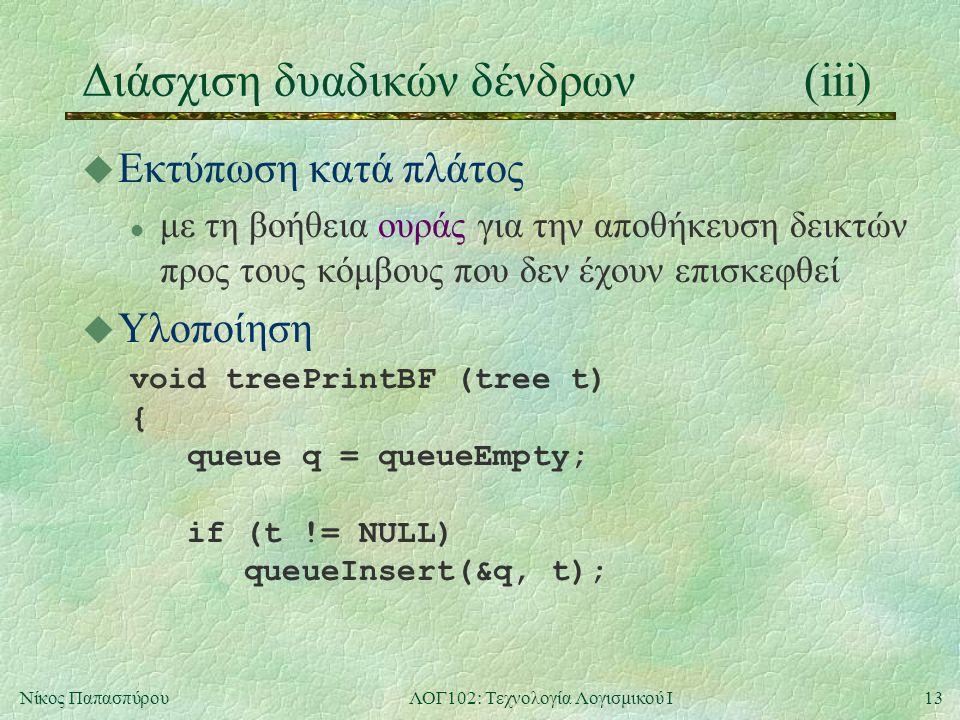 13Νίκος ΠαπασπύρουΛΟΓ102: Τεχνολογία Λογισμικού Ι Διάσχιση δυαδικών δένδρων(iii) u Εκτύπωση κατά πλάτος l με τη βοήθεια ουράς για την αποθήκευση δεικτών προς τους κόμβους που δεν έχουν επισκεφθεί u Υλοποίηση void treePrintBF (tree t) { queue q = queueEmpty; if (t != NULL) queueInsert(&q, t);