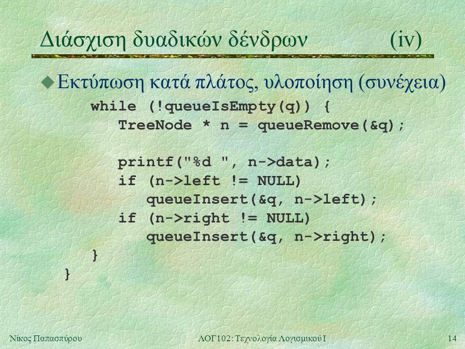 14Νίκος ΠαπασπύρουΛΟΓ102: Τεχνολογία Λογισμικού Ι Διάσχιση δυαδικών δένδρων(iv) u Εκτύπωση κατά πλάτος, υλοποίηση (συνέχεια) while (!queueIsEmpty(q)) { TreeNode * n = queueRemove(&q); printf( %d , n->data); if (n->left != NULL) queueInsert(&q, n->left); if (n->right != NULL) queueInsert(&q, n->right); } }