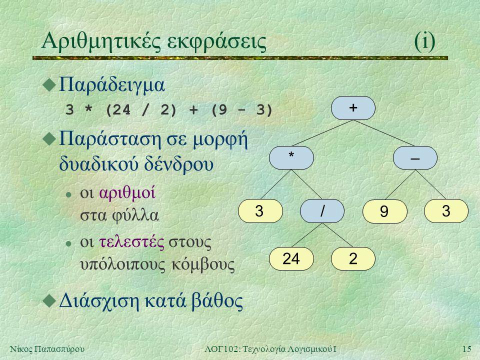 15Νίκος ΠαπασπύρουΛΟΓ102: Τεχνολογία Λογισμικού Ι Αριθμητικές εκφράσεις(i) u Παράδειγμα 3 * (24 / 2) + (9 - 3) u Παράσταση σε μορφή δυαδικού δένδρου l οι αριθμοί στα φύλλα l οι τελεστές στους υπόλοιπους κόμβους + *– 33 224 / 9 u Διάσχιση κατά βάθος
