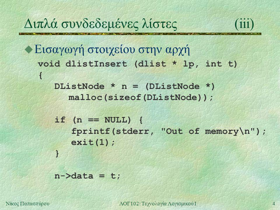 4Νίκος ΠαπασπύρουΛΟΓ102: Τεχνολογία Λογισμικού Ι Διπλά συνδεδεμένες λίστες(iii) u Εισαγωγή στοιχείου στην αρχή void dlistInsert (dlist * lp, int t) { DListNode * n = (DListNode *) malloc(sizeof(DListNode)); if (n == NULL) { fprintf(stderr, Out of memory\n ); exit(1); } n->data = t;