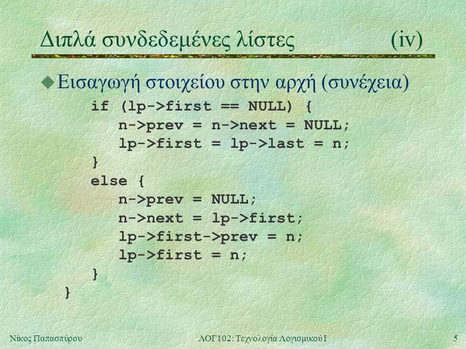 5Νίκος ΠαπασπύρουΛΟΓ102: Τεχνολογία Λογισμικού Ι Διπλά συνδεδεμένες λίστες(iv) u Εισαγωγή στοιχείου στην αρχή (συνέχεια) if (lp->first == NULL) { n->prev = n->next = NULL; lp->first = lp->last = n; } else { n->prev = NULL; n->next = lp->first; lp->first->prev = n; lp->first = n; } }