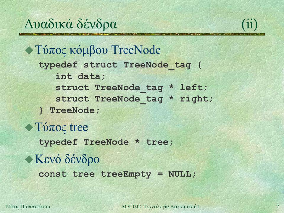7Νίκος ΠαπασπύρουΛΟΓ102: Τεχνολογία Λογισμικού Ι Δυαδικά δένδρα(ii) u Τύπος κόμβου TreeNode typedef struct TreeNode_tag { int data; struct TreeNode_tag * left; struct TreeNode_tag * right; } TreeNode; u Τύπος tree typedef TreeNode * tree; u Κενό δένδρο const tree treeEmpty = NULL;