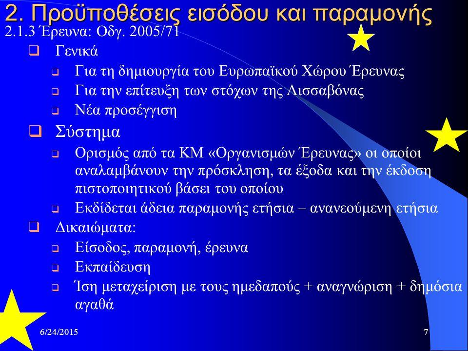 6/24/20157 2. Προϋποθέσεις εισόδου και παραμονής 2.1.3 Έρευνα: Οδγ. 2005/71  Γενικά  Για τη δημιουργία του Ευρωπαϊκού Χώρου Έρευνας  Για την επίτευ