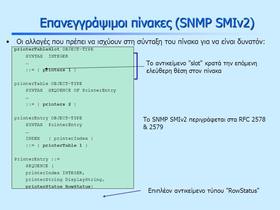 Επανεγγράψιμοι πίνακες (SNMP SMIv2) Οι αλλαγές που πρέπει να ισχύουν στη σύνταξη του πίνακα για να είναι δυνατόν: printerTableSlot OBJECT-TYPE SYNTAX INTEGER … ::= { printers 1 } printerTable OBJECT-TYPE SYNTAX SEQUENCE OF PrinterEntry … ::= { printers 2 } printerEntry OBJECT-TYPE SYNTAX PrinterEntry … INDEX { printerIndex } ::= { printerTable 1 } PrinterEntry ::= SEQUENCE { printerIndex INTEGER, printerString DisplayString, printerStatus RowStatus} Το αντικείμενο slot κρατά την επόμενη ελεύθερη θέση στον πίνακα Επιπλέον αντικείμενο τύπου RowStatus Το SNMP SMIv2 περιγράφεται στα RFC 2578 & 2579