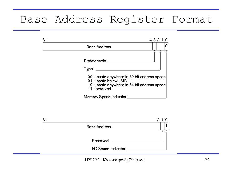 ΗΥ-220 - Καλοκαιρινός Γιώργος29 Base Address Register Format