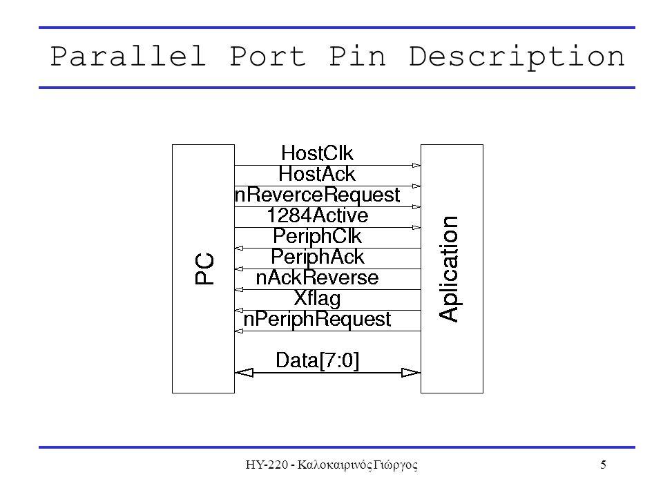 ΗΥ-220 - Καλοκαιρινός Γιώργος5 Parallel Port Pin Description