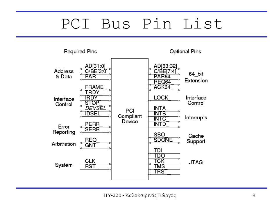 ΗΥ-220 - Καλοκαιρινός Γιώργος9 PCI Bus Pin List