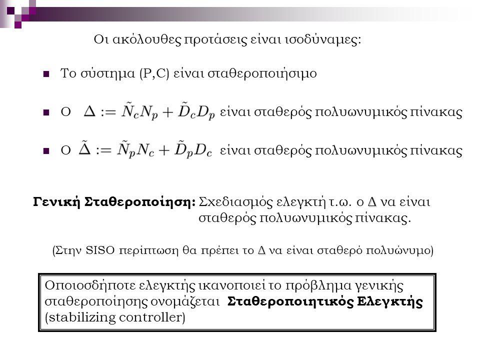 Οι ακόλουθες προτάσεις είναι ισοδύναμες: Το σύστημα (P,C) είναι σταθεροποιήσιμο Ο είναι σταθερός πολυωνυμικός πίνακας Δ Γενική Σταθεροποίηση: Σχεδιασμ