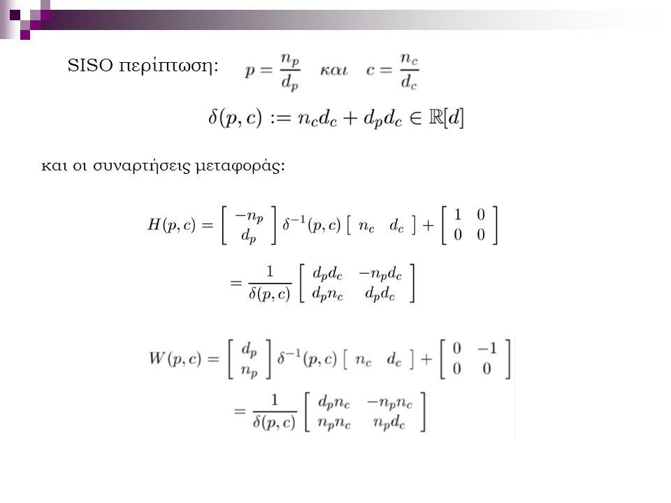 SISO περίπτωση: και οι συναρτήσεις μεταφοράς: