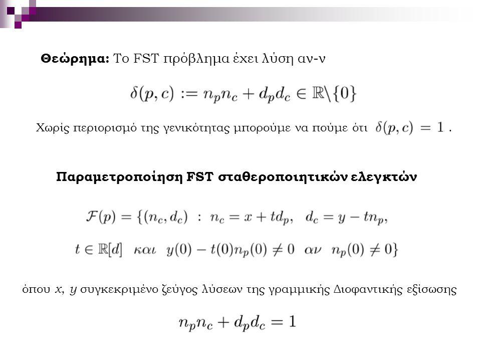 Θεώρημα: Το FST πρόβλημα έχει λύση αν-ν Χωρίς περιορισμό της γενικότητας μπορούμε να πούμε ότι. Παραμετροποίηση FST σταθεροποιητικών ελεγκτών όπου x,