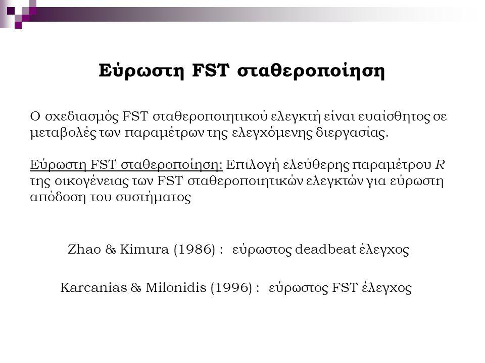 Εύρωστη FST σταθεροποίηση Ο σχεδιασμός FST σταθεροποιητικού ελεγκτή είναι ευαίσθητος σε μεταβολές των παραμέτρων της ελεγχόμενης διεργασίας. Εύρωστη F