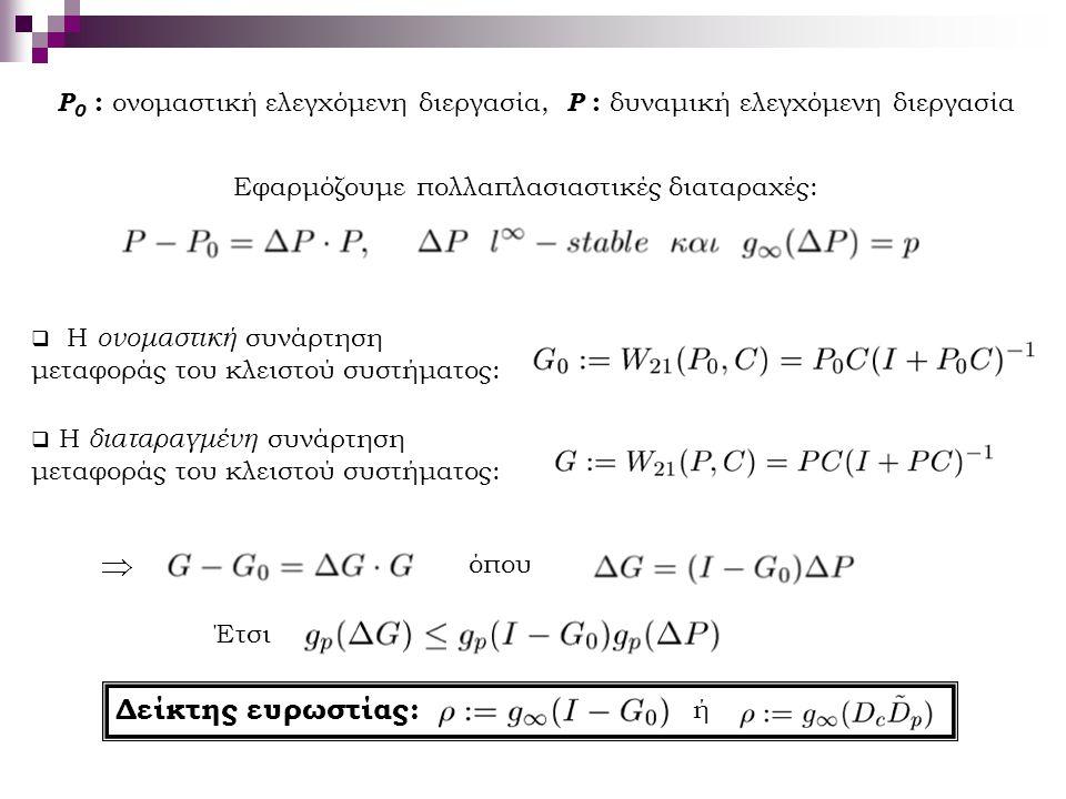 Εφαρμόζουμε πολλαπλασιαστικές διαταραχές: P 0 : ονομαστική ελεγχόμενη διεργασία, P : δυναμική ελεγχόμενη διεργασία  Η ονομαστική συνάρτηση μεταφοράς