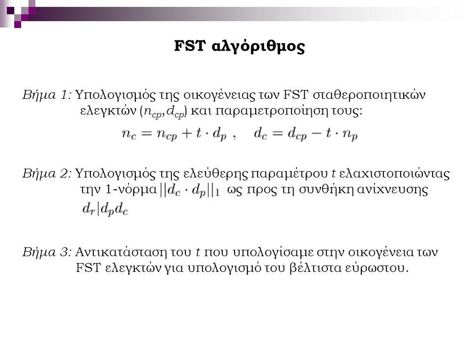 FST αλγόριθμος Βήμα 1: Υπολογισμός της οικογένειας των FST σταθεροποιητικών ελεγκτών ( n cp, d cp ) και παραμετροποίηση τους: Βήμα 2: Υπολογισμός της