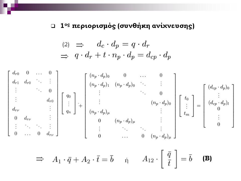  1 ος περιορισμός (συνθήκη ανίχνευσης) (2) ή (Β)