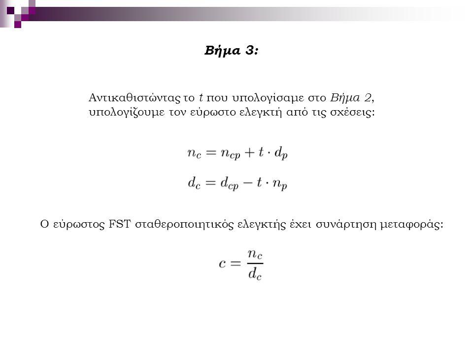 Βήμα 3: Αντικαθιστώντας το t που υπολογίσαμε στο Βήμα 2, υπολογίζουμε τον εύρωστο ελεγκτή από τις σχέσεις: Ο εύρωστος FST σταθεροποιητικός ελεγκτής έχ
