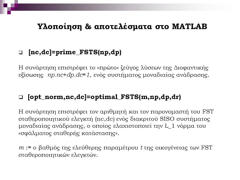 Υλοποίηση & αποτελέσματα στο MATLAB  [nc,dc]=prime_FSTS(np,dp) Η συνάρτηση επιστρέφει το «πρώτο» ζεύγος λύσεων της Διοφαντικής εξίσωσης np.nc + dp.dc