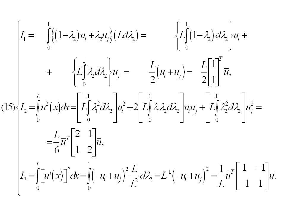 Έτσι, τελικά, για το παράδειγμά μας, από την (6) θα έχουμε: ενώ από τις (15) θα έχουμε ως συμβολή του σ (i) στοιχείου στο γραμμικό σύστημα την (για L=1/4): Έτσι, από την (16) που στην ουσία αποτελεί το υπολογιστικό κύτταρο του στοιχείου, μπορούμε να συνθέσουμε την συναρτησιακή σχέση, που είναι: που γράφεται στην μορφή της βασικής σχέσεως (4.1):