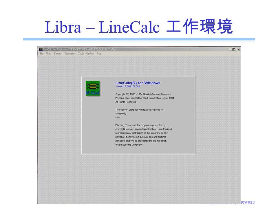 E.E. Dept., NSYSU Libra – LineCalc 工作環境