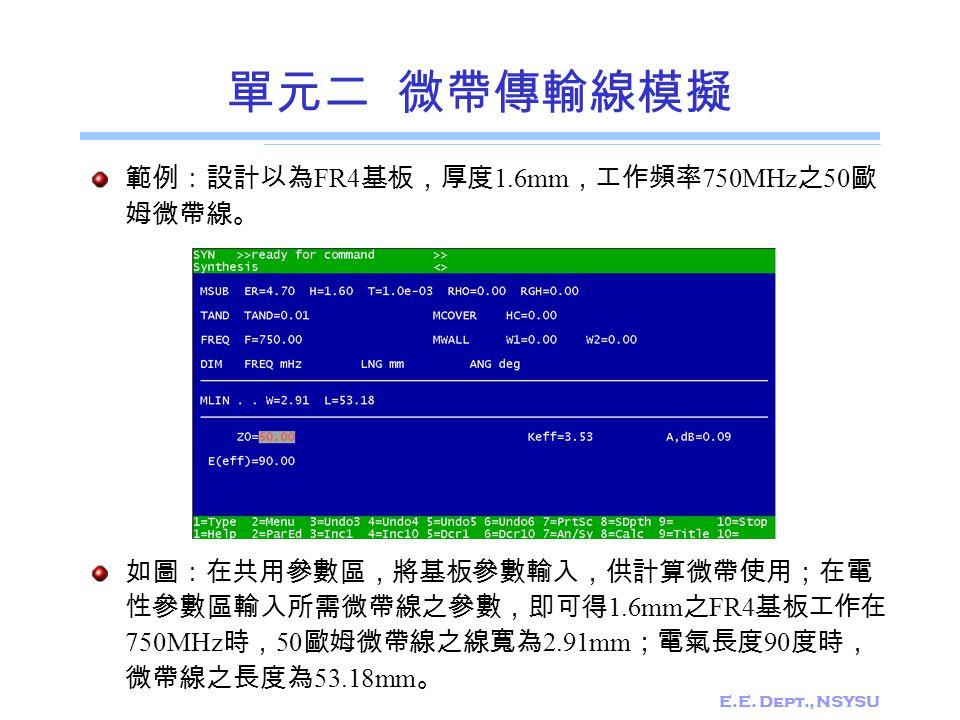 E.E. Dept., NSYSU 單元二 微帶傳輸線模擬 範例:設計以為 FR4 基板,厚度 1.6mm ,工作頻率 750MHz 之 50 歐 姆微帶線。 如圖:在共用參數區,將基板參數輸入,供計算微帶使用;在電 性參數區輸入所需微帶線之參數,即可得 1.6mm 之 FR4 基板工作在 750M