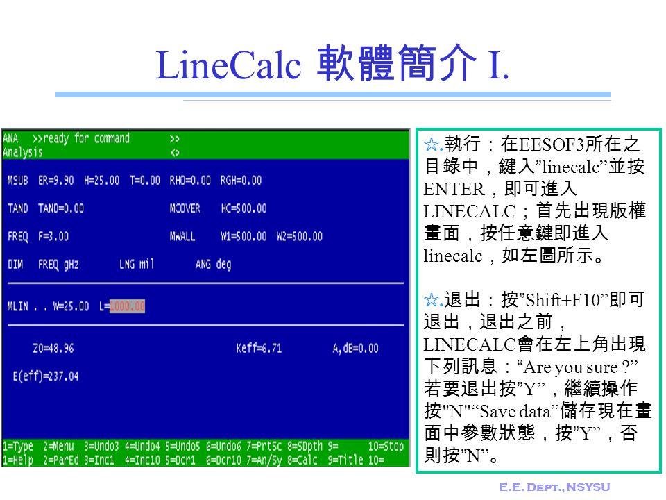 "E.E. Dept., NSYSU LineCalc 軟體簡介 I. ☆. 執行:在 EESOF3 所在之 目錄中,鍵入 ""linecalc"" 並按 ENTER ,即可進入 LINECALC ;首先出現版權 畫面,按任意鍵即進入 linecalc ,如左圖所示。 ☆. 退出:按 ""Shift+F10"