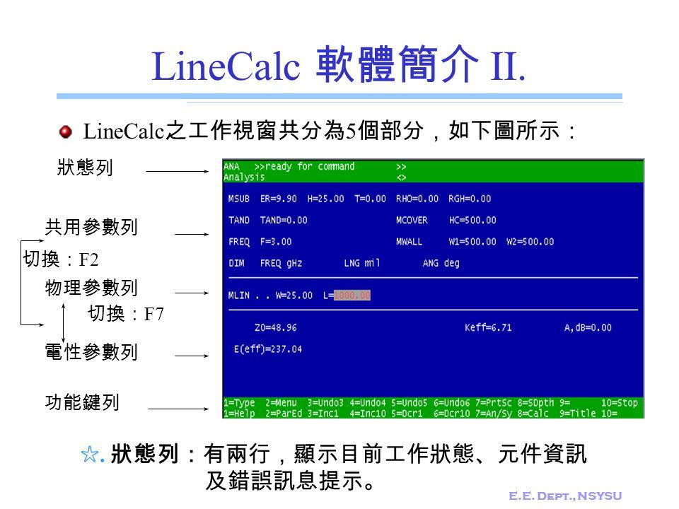 E.E. Dept., NSYSU LineCalc 軟體簡介 II. LineCalc 之工作視窗共分為 5 個部分,如下圖所示: 狀態列 共用參數列 物理參數列 電性參數列 功能鍵列 切換: F7 切換: F2 ☆. 狀態列:有兩行,顯示目前工作狀態、元件資訊 及錯誤訊息提示。