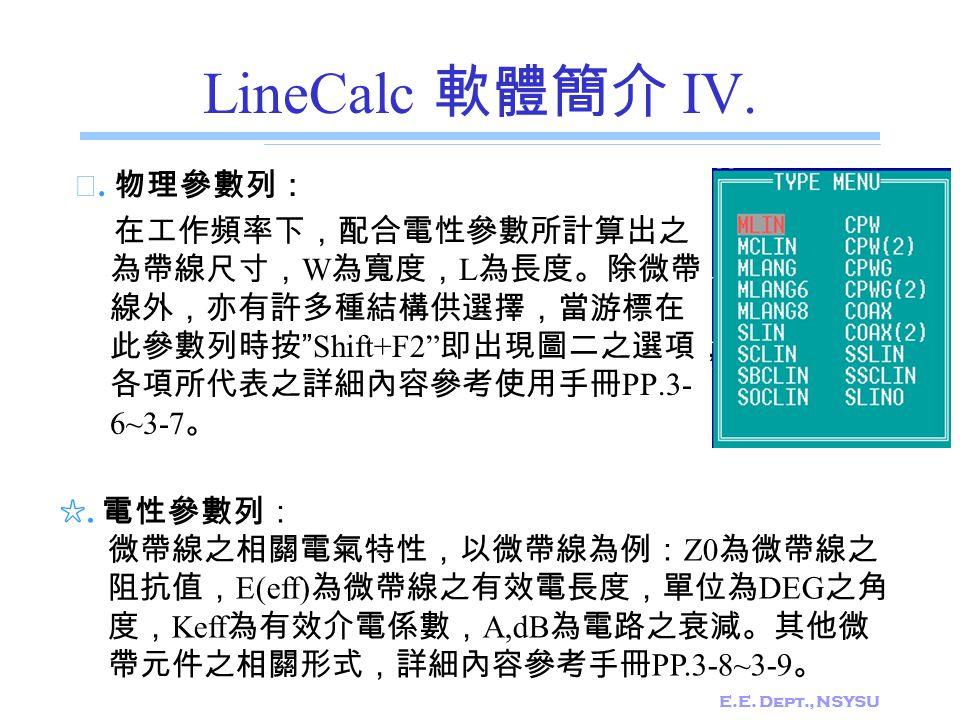 E.E.Dept., NSYSU LineCalc 軟體簡介 V. ☆.