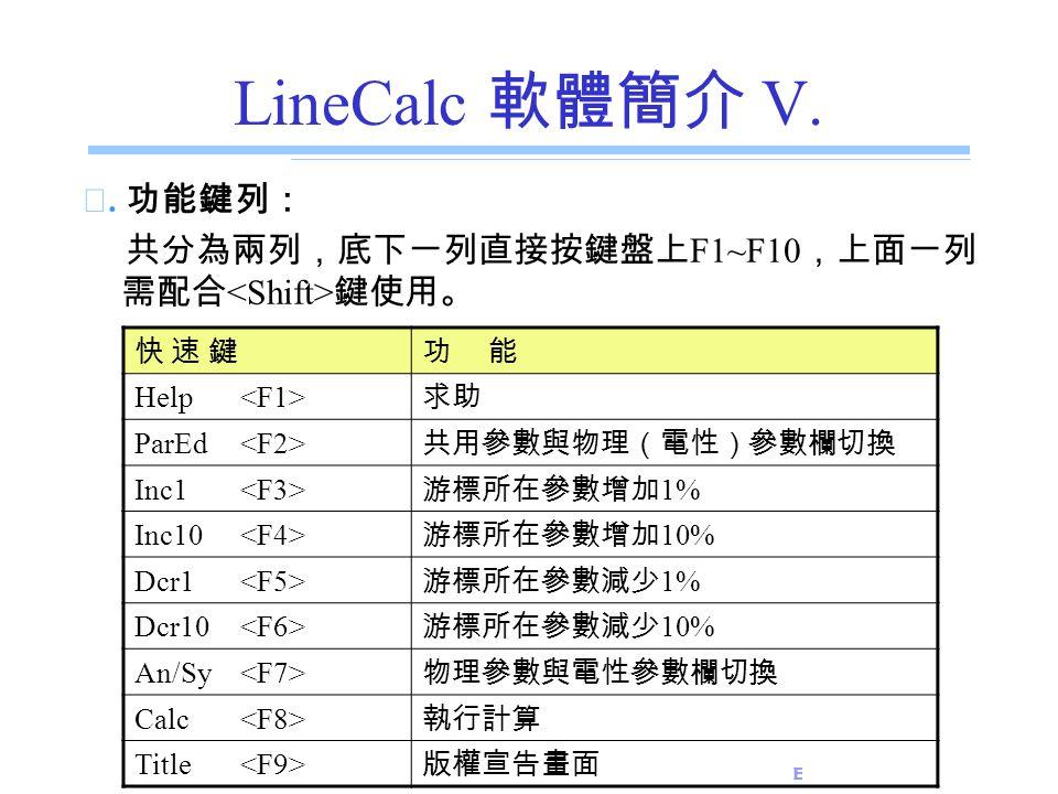 E.E. Dept., NSYSU LineCalc 軟體簡介 V. ☆. 功能鍵列: 共分為兩列,底下一列直接按鍵盤上 F1~F10 ,上面一列 需配合 鍵使用。 快 速 鍵快 速 鍵功 能 Help 求助 ParEd 共用參數與物理(電性)參數欄切換 Inc1 游標所在參數增加 1% Inc10