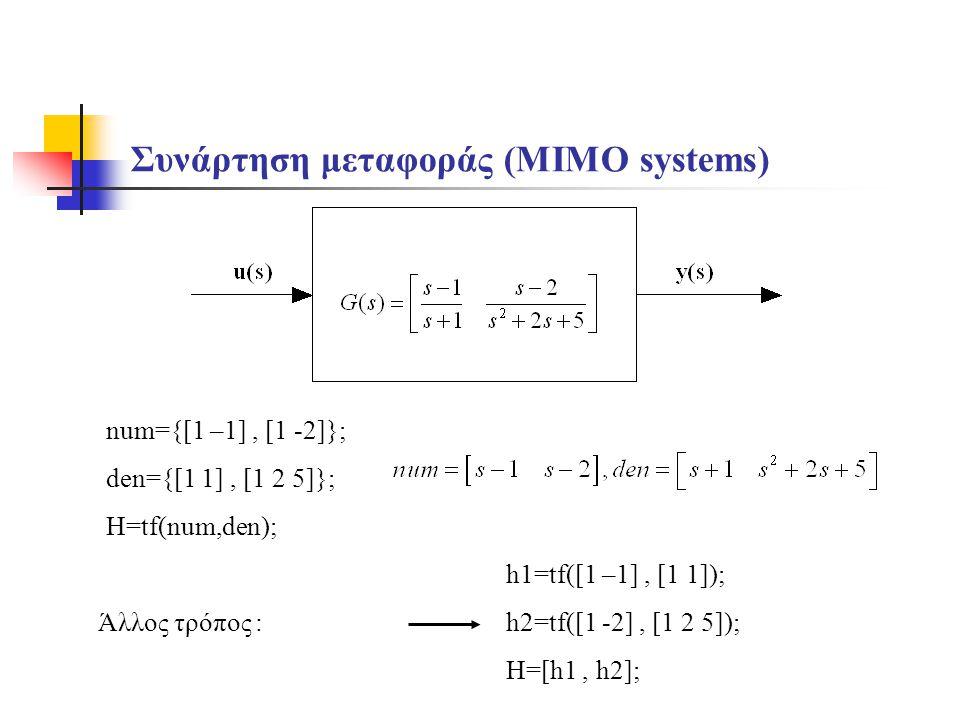 Συνάρτηση μεταφοράς (MIMO systems) num={[1 –1], [1 -2]}; den={[1 1], [1 2 5]}; H=tf(num,den); h1=tf([1 –1], [1 1]); h2=tf([1 -2], [1 2 5]); H=[h1, h2]; Άλλος τρόπος :